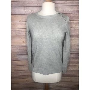 J. Crew Gray Merino Wool Zipper Sweater